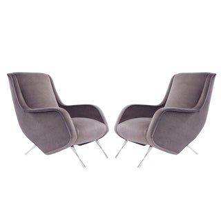 Set of Reading Lounge Chairs in Mohair, Marco Zanuso, Italy, 1955 For Sale