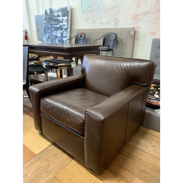 Design Plus Gallery presents a Leather Armchair by Restoration Hardware. Manufactured by Mitchell Gold. Brown tipped...