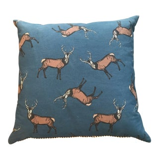 British Cotton Deer Pillow With French Ticking Back For Sale