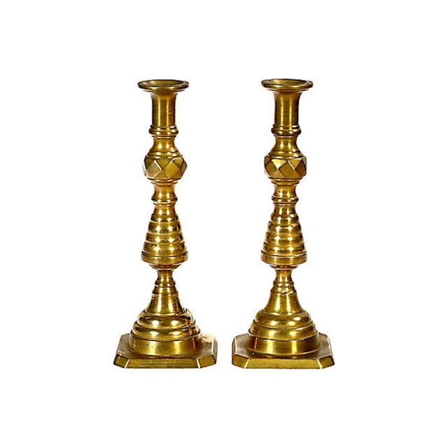 Early 20th Century Early 20th C. Brass Candleholders, Pair For Sale - Image 5 of 5