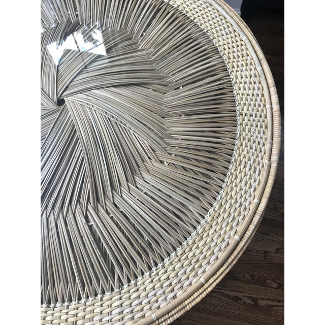 Boho Vintage Wicker Dining Table For Sale - Image 4 of 5