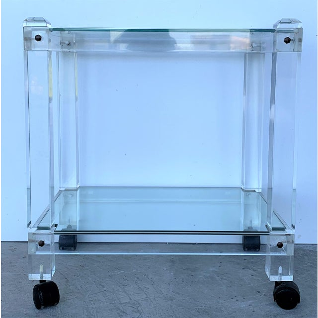 French French 1970s Plexiglass Lucite Drink Bar or Dessert Cart For Sale - Image 3 of 9