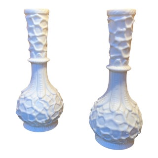 Mid Century White China Bud Vases - a Pair For Sale
