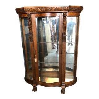 1920's Antique Glass and Wood Frame Cabinet For Sale
