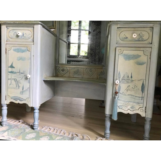 Antique Trifold Mirror Vanity & Chair - Hand Painted by Marie Colette. Purchased at her shop in Glenside, PA. Marie...