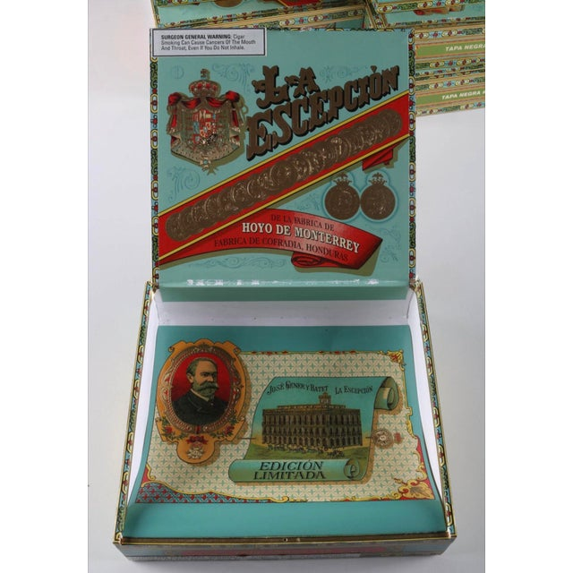 Art Deco Vintage La Escepción Cigar Boxes - 10 Pieces For Sale - Image 3 of 6