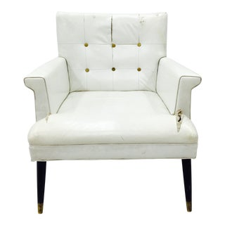 Vintage White Tufted Arm Chair For Sale