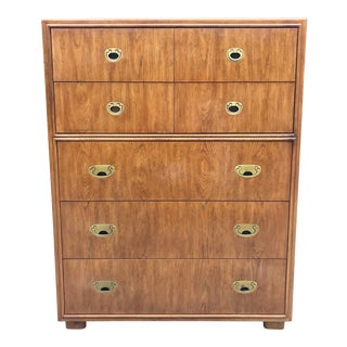 Drexel Campaign Mid Century Modern Dresser/Highboy For Sale