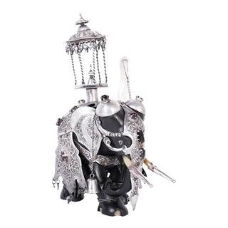 Anglo Indian Embellished Elephant Sculpture For Sale