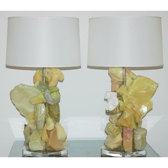 Contemporary Glass Rock Table Lamps by Swank Lighting Yellow Orange For Sale - Image 3 of 10