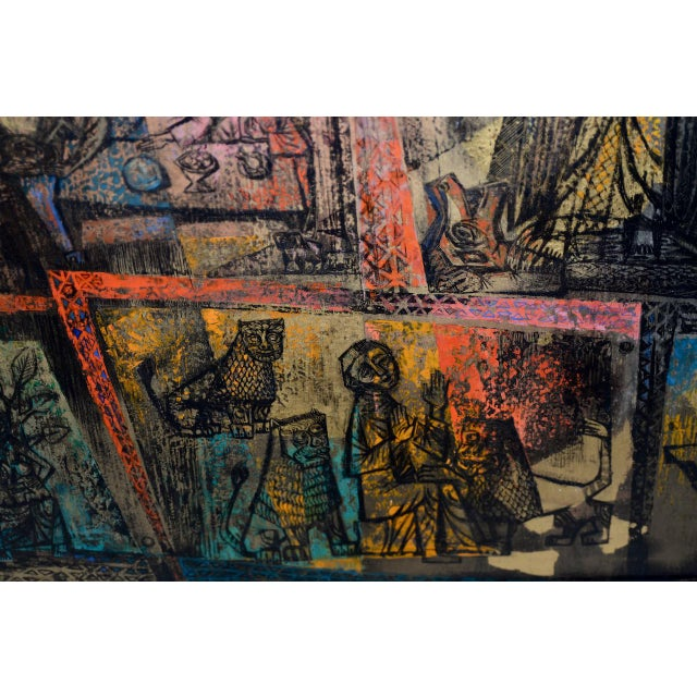 """Black 1956 """"Memory of the Bronze Doors of San Zeno, Italy"""" Oil Painting by Gerda With For Sale - Image 8 of 13"""