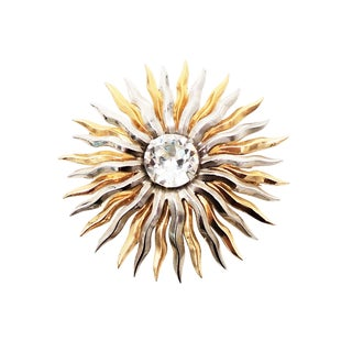 1950s Napier Silver & Goldtone Rhinestone Pin For Sale