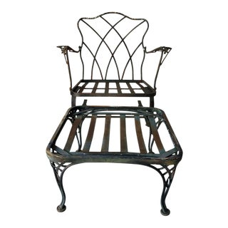 French Country Style Vtg Woodard Wrought Iron Bouncing Chair & Ottoman Outdoor Set For Sale