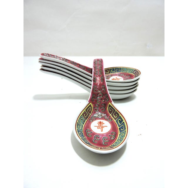 Asian 20th Century Chinese Red Rice Spoons - Set of 6, Late Republic Period For Sale - Image 3 of 9