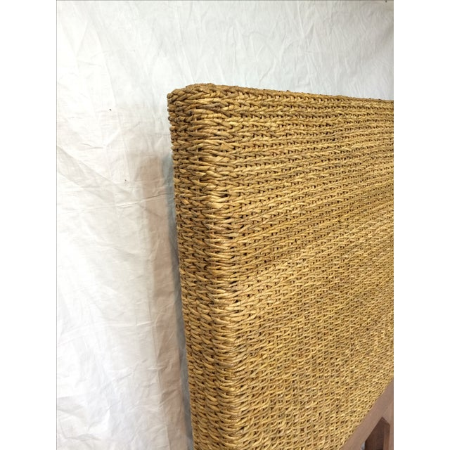 Woven Rattan and Teak Headboards - Pair - Image 6 of 9