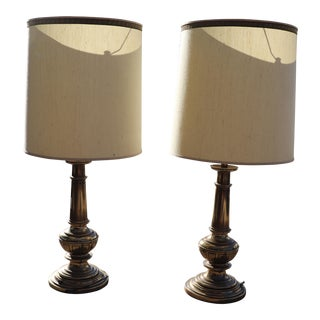 Pair of Regency Style Stacking Brass Table Lamps by Stiffel For Sale