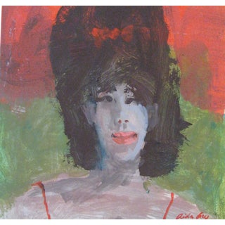 "Fry Fresco ""Bouffant"", Contemporary Pink and Green Portrait For Sale"