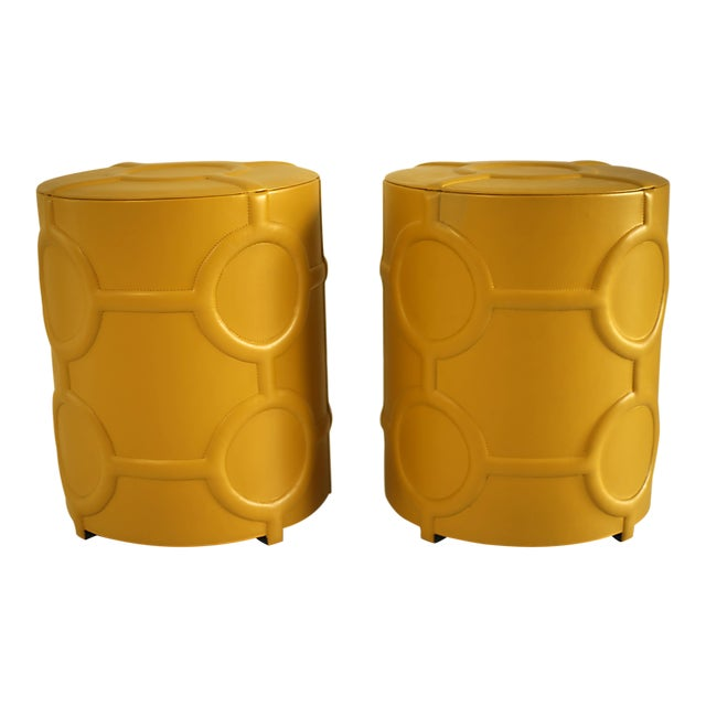 Mustard Yellow Leather Drum Table For Sale