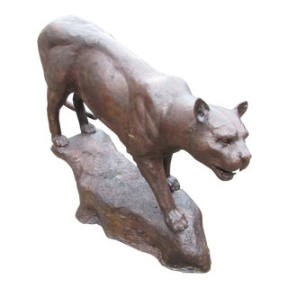 Life-Size Bronze Panther Statue For Sale