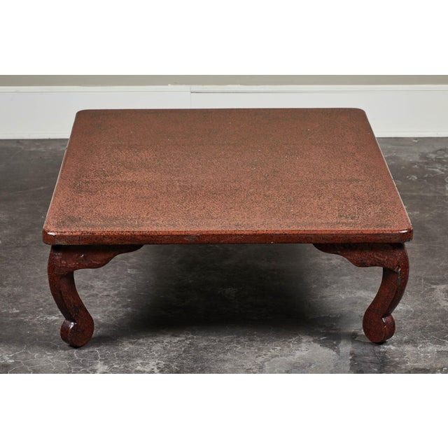 Red Early 20th C. Japanese Lacquered Low Table For Sale - Image 8 of 10