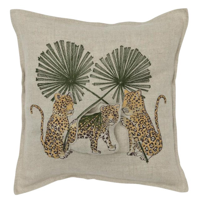 Jaguar Palm Pocket Pillow For Sale