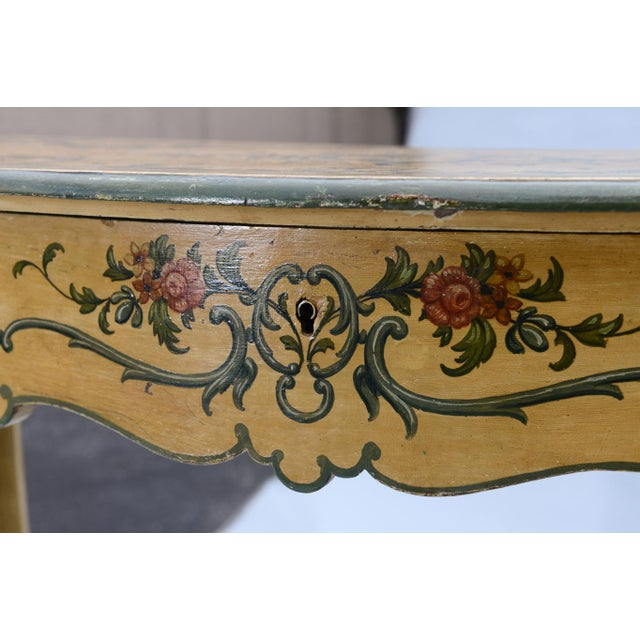 Red Hand Painted 19th Century Console Table For Sale - Image 8 of 11