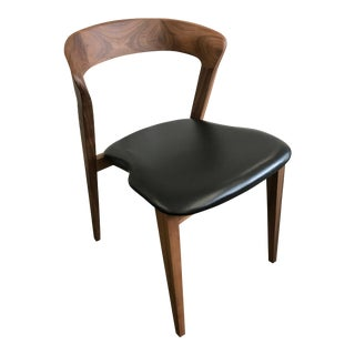 Contemporary Wooden and Black Leather Dining/Office Chair For Sale
