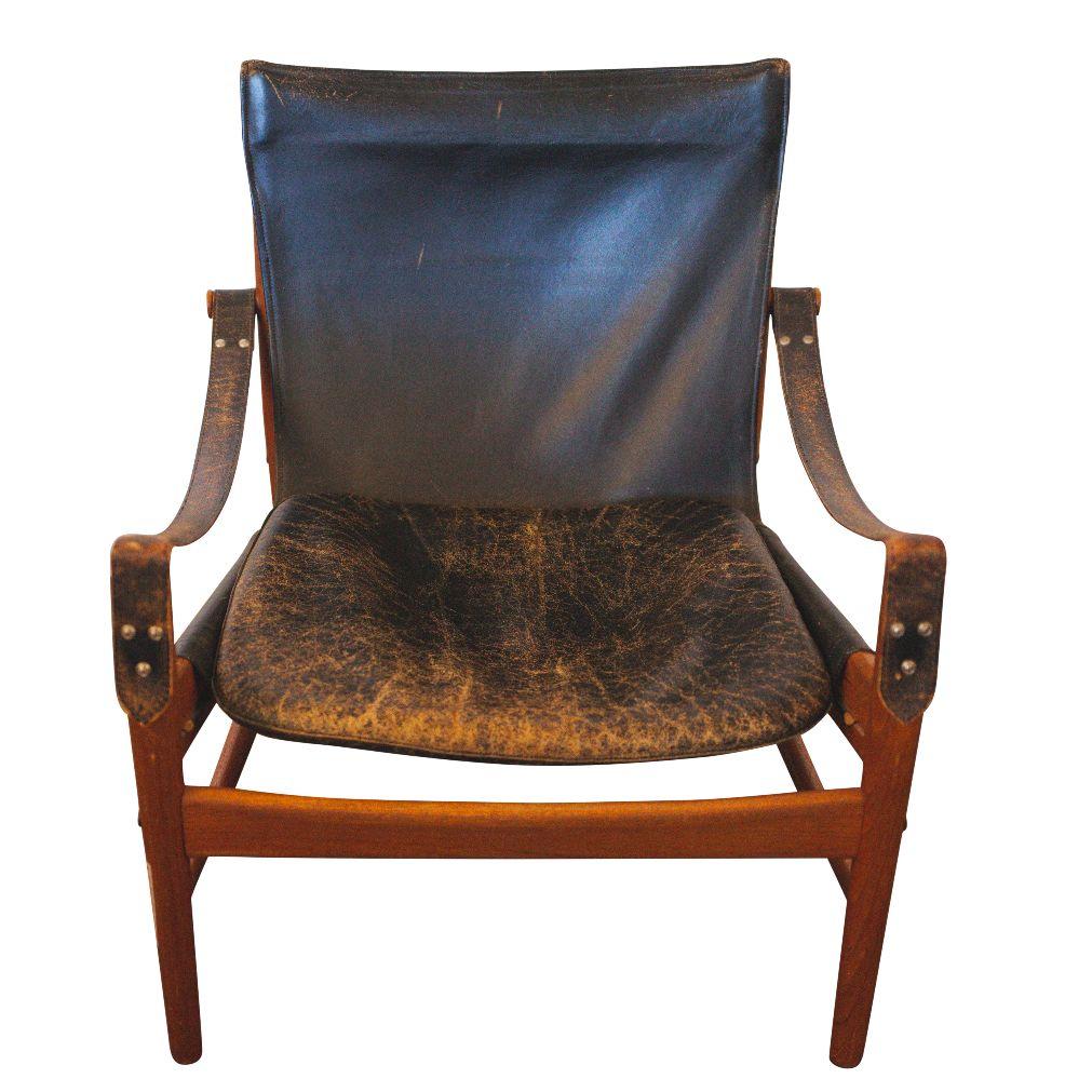 Hans Olsen Black Leather U0026 Wood Safari Chair