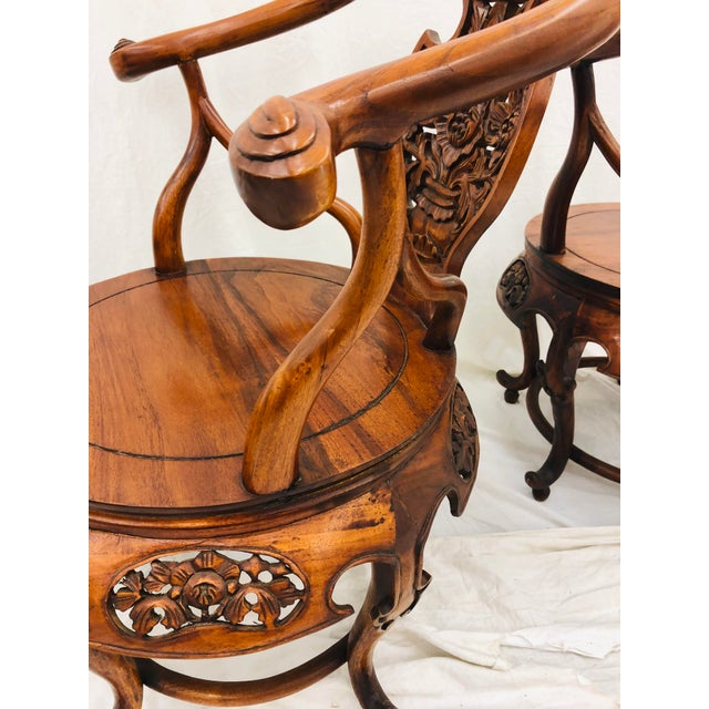 Pair Antique Carved Arm Chairs For Sale - Image 12 of 13