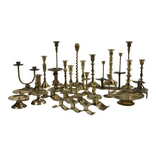 Late 20th Century Vintage Brass Candleholders - Set of 27 For Sale