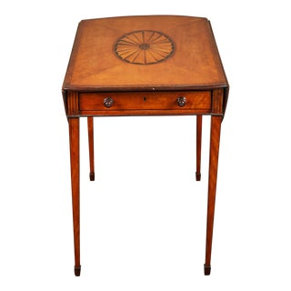 18th Century George III Mahogany Pembroke Table with Inlaid Fan For Sale