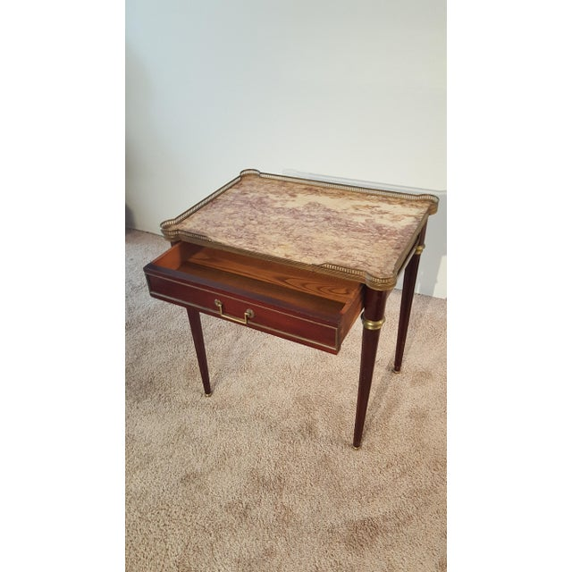 Traditional Louis XVI Style Marble Top Side Table For Sale - Image 3 of 12