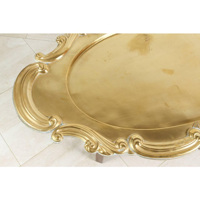 Hollywood Regency Hollywood Regency Oval Brass Tray Table For Sale - Image 3 of 8