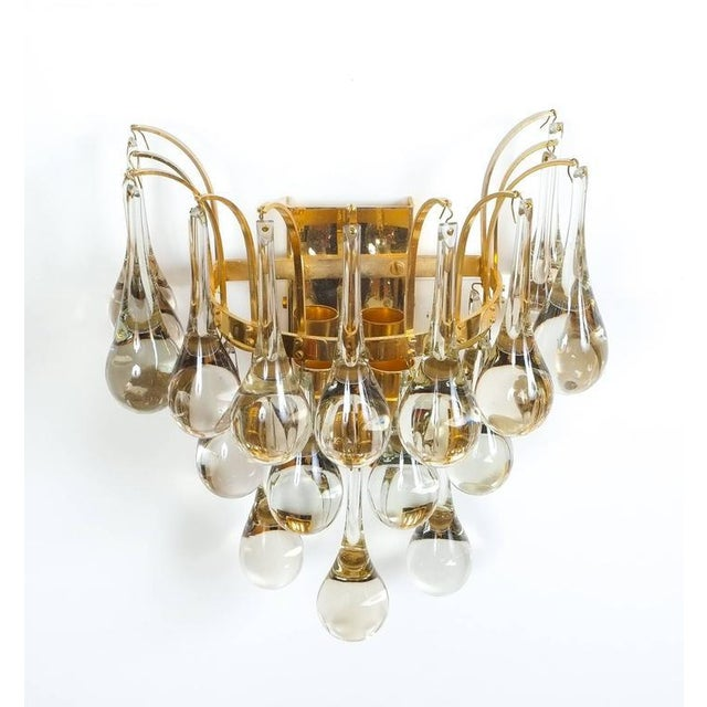 Palwa Multiple Palwa Murano Glass Tear Drop Sconces Wall Lamps Gold Brass, 1960 For Sale - Image 4 of 5