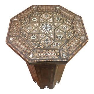 1970s Moroccan Style Marquetry Crafted Walnut Side Table For Sale