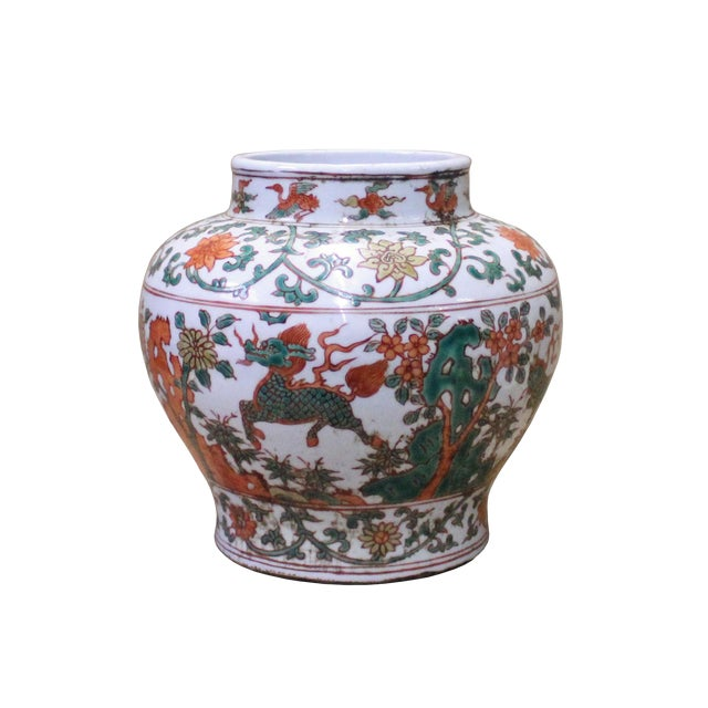 Chinese Handmade Multi-Color Flower Kirin Porcelain Pot Jar For Sale