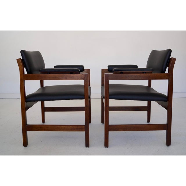 Mid-Century Walnut Arm Chairs - a Pair For Sale - Image 4 of 11