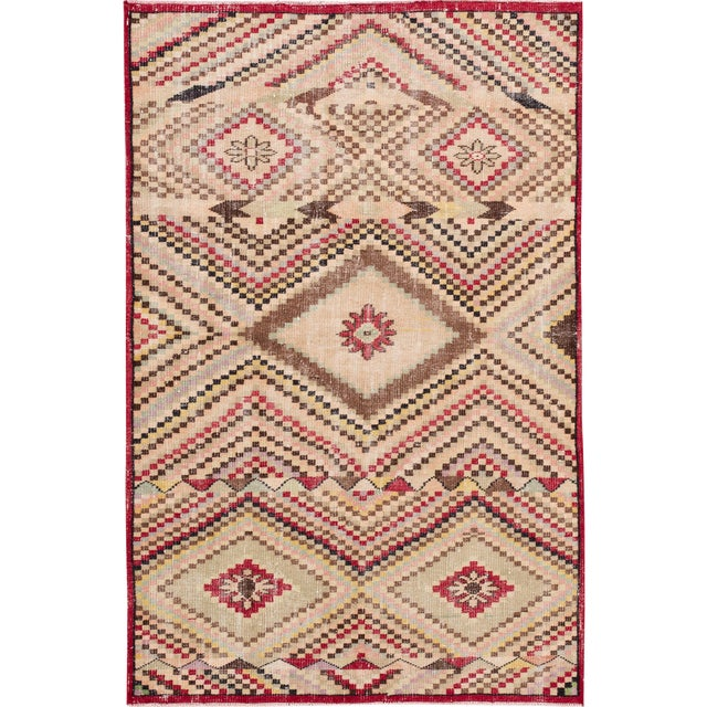 Vintage Turkish Scatter Wool Rug 4 X 7 For Sale