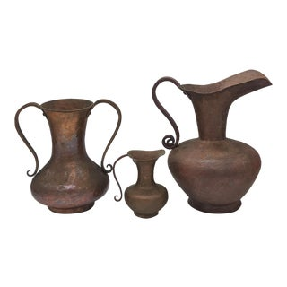 1900 Antique Arts and Crafts Hand Hammered Copper Pitchers/ Vases - Set of 3 For Sale