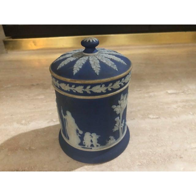 Blue Wedgewood Jasper Blue & Cream Jar & Box - A Pair For Sale - Image 8 of 9