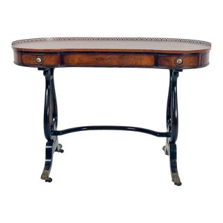 1910s Edwardian Fruitwood Kidney Shaped Writing Table For Sale
