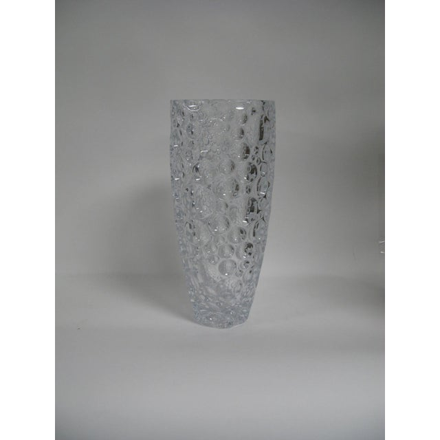 1990s Czech Vase Bubble Thumbprint Bohemia Glass For Sale - Image 4 of 10