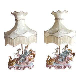 Vintage Italian Lady Cherubs Swans Lamps - a Pair For Sale