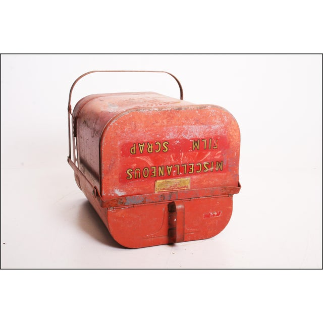 Vintage Industrial Red Metal Trash Can with Flip Top Lid For Sale - Image 4 of 11