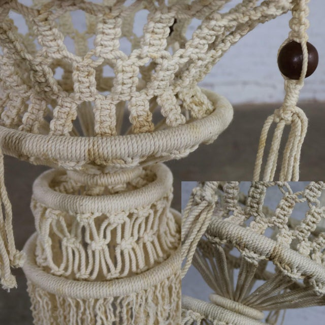 Vintage Bohemian White Macramé Hanging Tables With Round Glass Tops - a Pair For Sale - Image 11 of 14