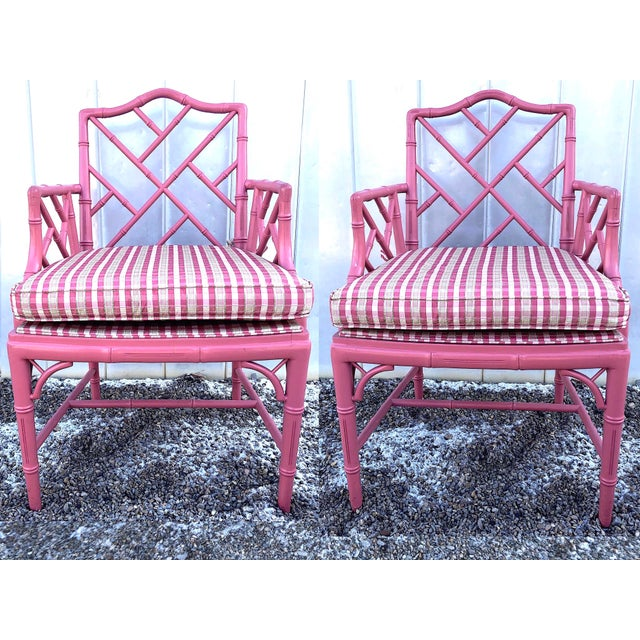 Hot Pink Hot Pink Faux Bamboo Chinese Chippendale Armchairs - Set of 6 For Sale - Image 8 of 13