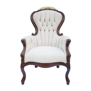 Late 20th Century Gilded Victorian Boudoir Chair For Sale