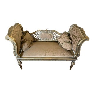 French Antique Louis XVI Style Loveseat with Pillows For Sale