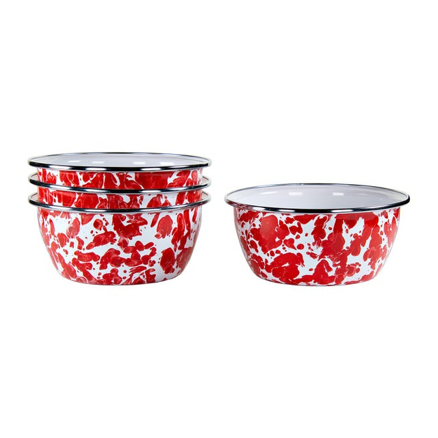 Modern Salad Bowls Red Swirl - Set of 4 For Sale - Image 3 of 3
