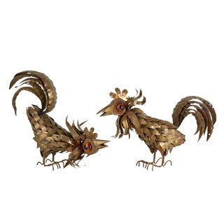 Brutalist Copper and Brass Welded Sculptures of Roosters Attributed to Curtis Jere - a Pair For Sale